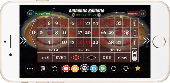 Authentic Roulette Double Wheel Mobile