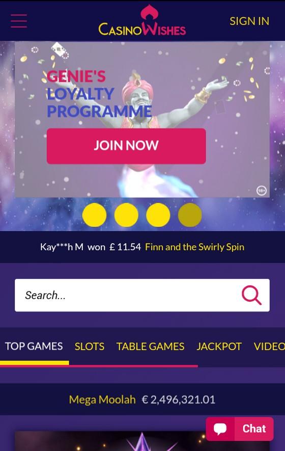 Casino Wishes mobile site