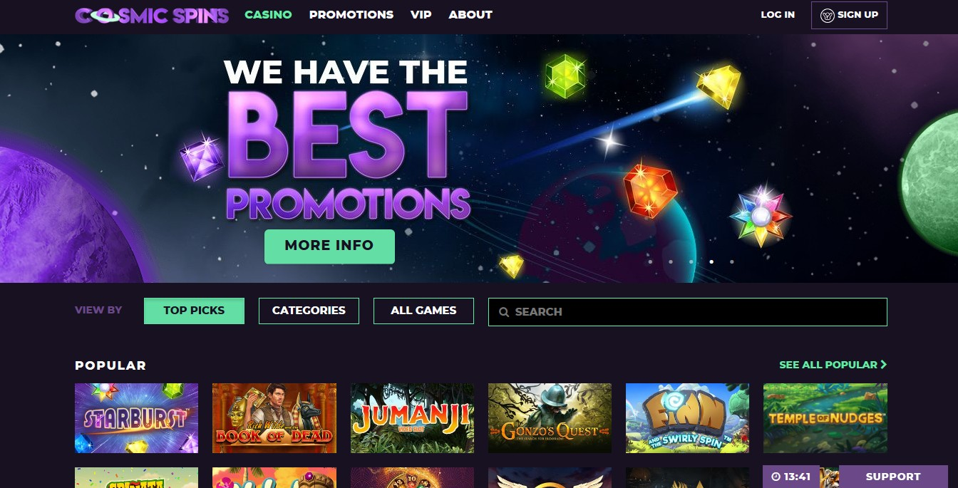 Cosmic Spins Casino Review Main