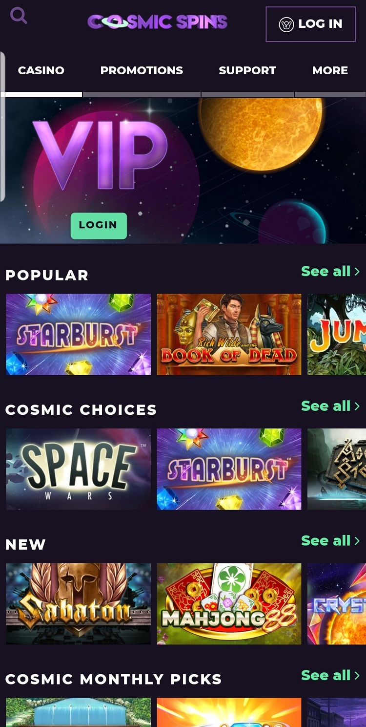 Cosmic Spins Casino Mobile