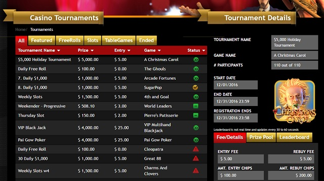 casino tournaments online