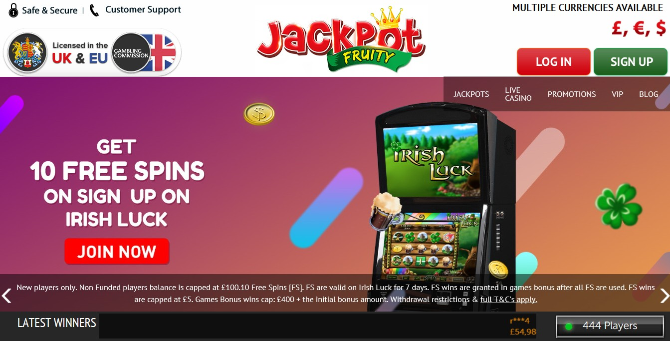 Jackpot Fruity Casino Review Main