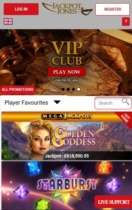 Jackpot Jones mobile site