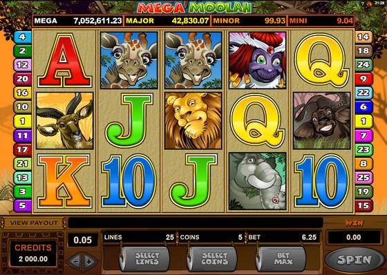 Mega Moolah - Low Stakes Slot