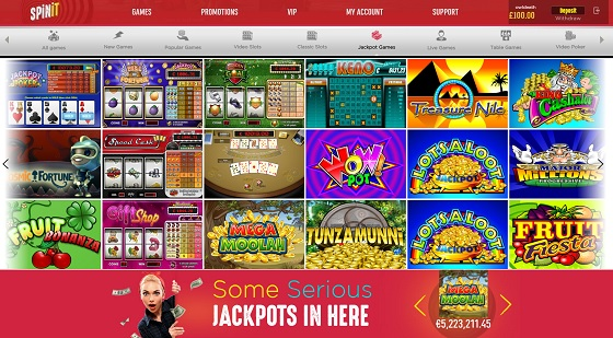 Spinit Casino Review Jackpots