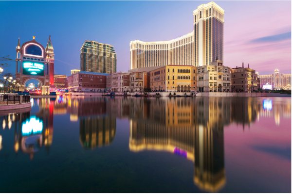 An evening scene of Macau Casino Hotels
