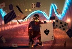 Futuristic man holding ace of spades card.