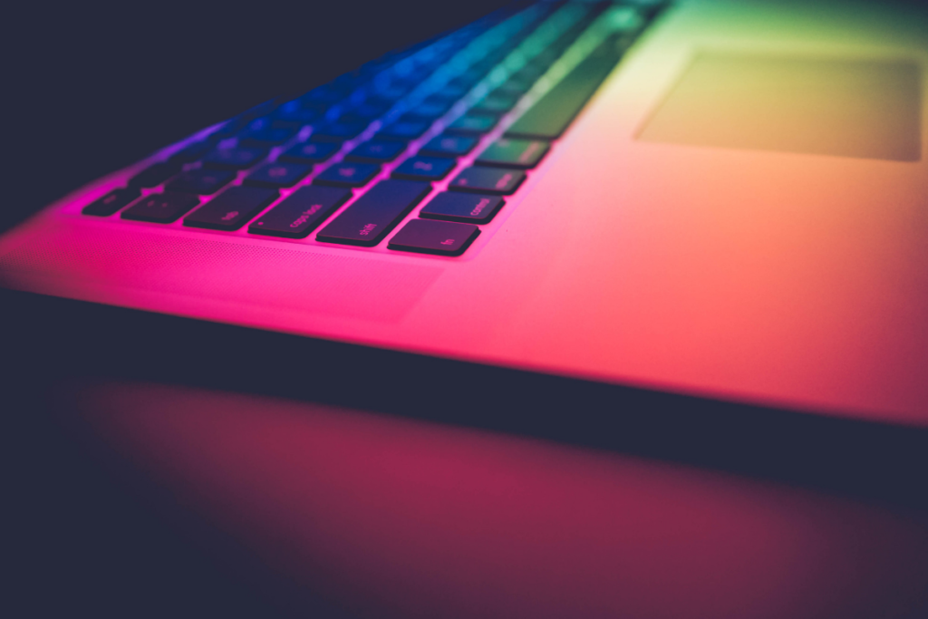 Picture of a computer in futeristic colours