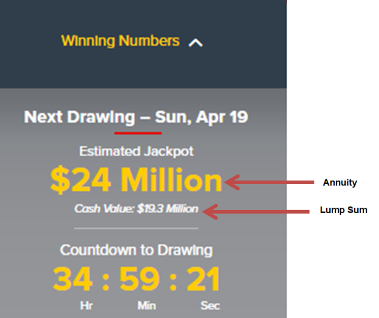 A picture of the widget from the powerball website that shows how much the jackpot is