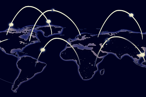 Illuminated map of the world with the countries outlined in light