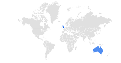 """A worldwide map of where people have searched for """"gambling licence"""" and the only highlighted countries are the UK and Australia. This is a map from Google Trends"""