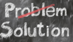 "An arty picture of the word ""problem"" crossed out and the word ""solution"" written underneath it. To represent dealing with a gambling problem"