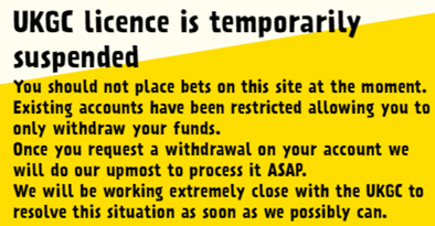 An image from Global Genesis casinos explaining their suspension. It says UKGC licence temporarily suspended You should not place bets on this site at the moment. Existing accounts have been restricted allowing you to only withdraw your funds. Once you request a withdrawal on your account we will do our upmost to process it ASAP. We will be working extremely close with the UKGC to resolve this situation as soon as we possibly can.