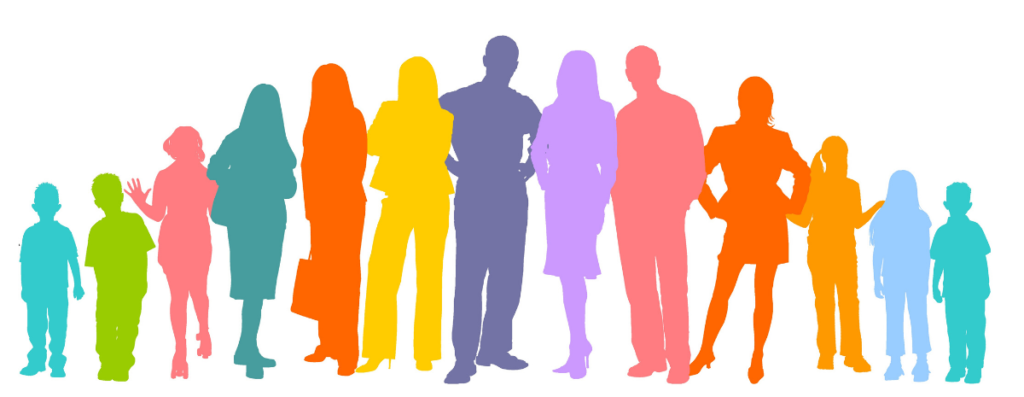 A cartoon picture of silouheted people in bright colours to represent community and the Middlesbrough Community Lottery