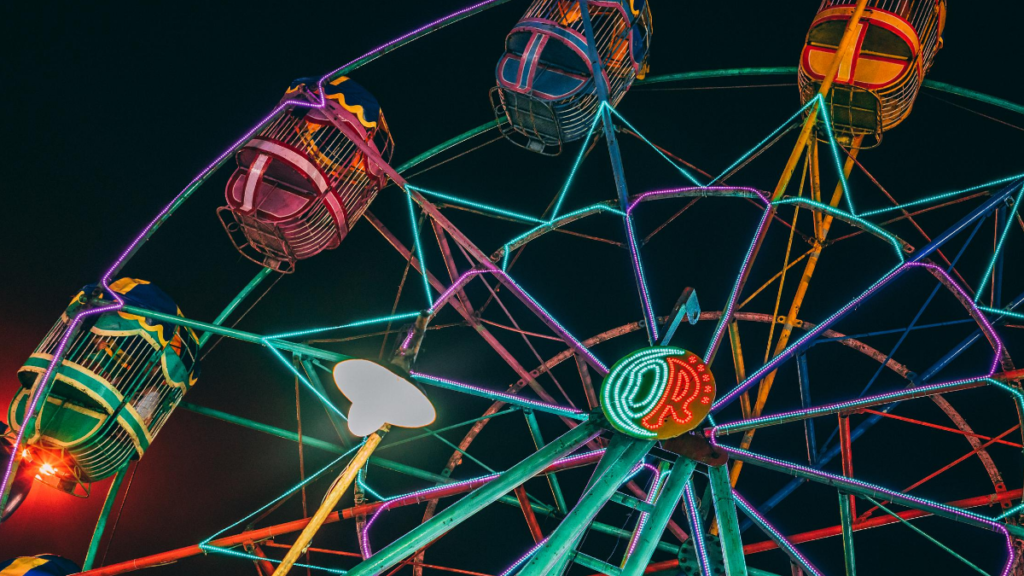 A picture of a ferris wheel to represent gambling fun