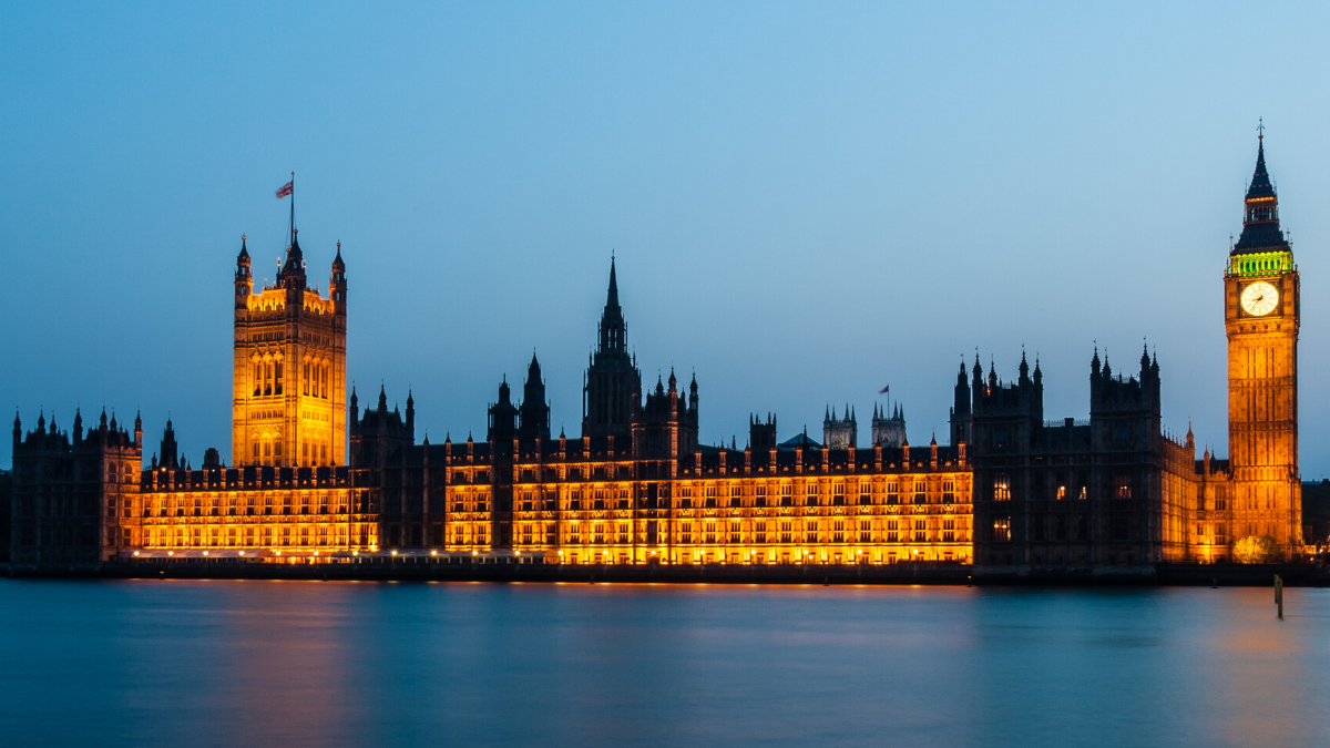 A picture of the Houses of Parliament at Dusk to represent the House of Lords