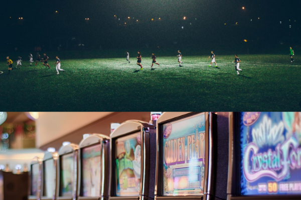 A picture of a football pitch at night above another picture of some slot machines to represent gambling sponsorship in sports