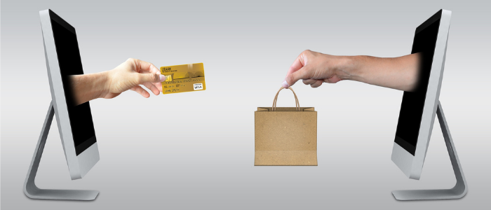 A picture of a hand reaching out of a screen while holding a credit card, reaching out to another hand coming out of another screen on the opposite side, who's holding a bag. It represents merchant sales and therefore the problem gambling tool.