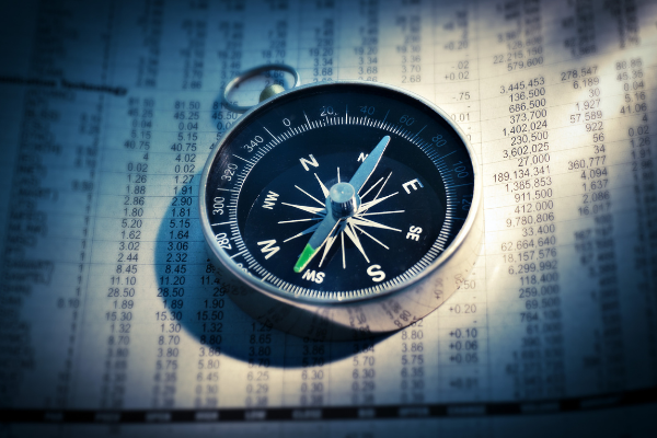 A picture of a compass to represent the future direction of online gambling.