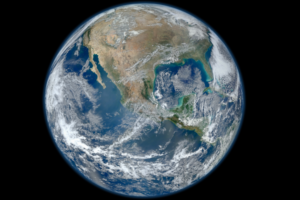 A picture of the planet earth against a black background.