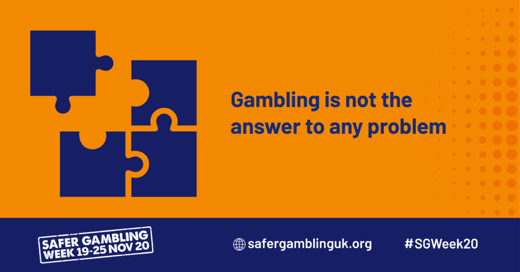 "An infographic saying ""Gambling is not the answer to any problem"""
