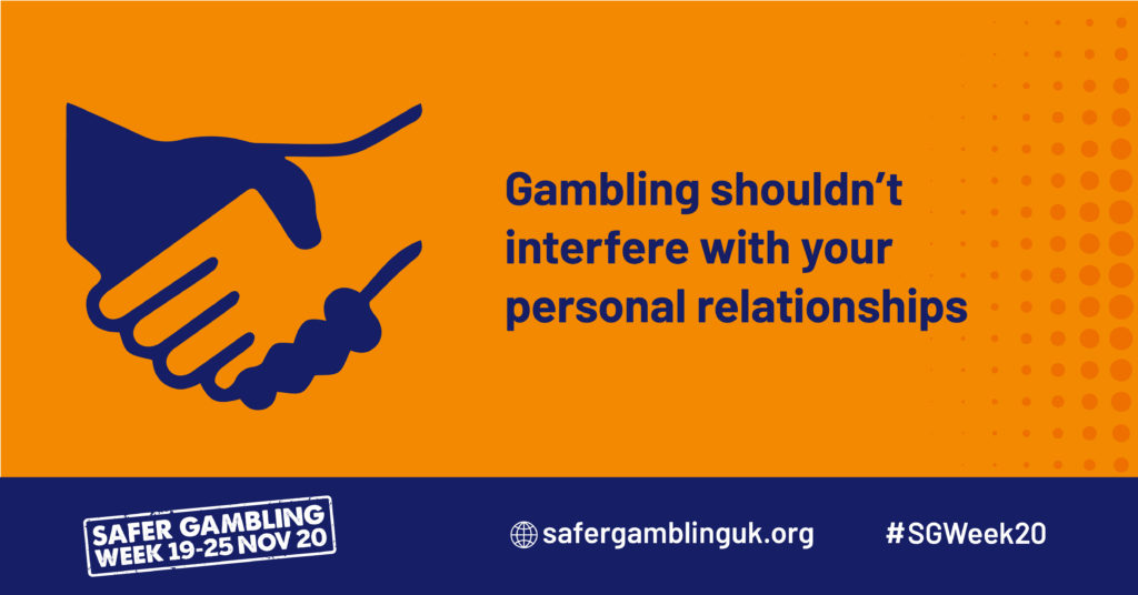 "An infographic saying ""Gambling shouldn't interfere with your personal relationships"""