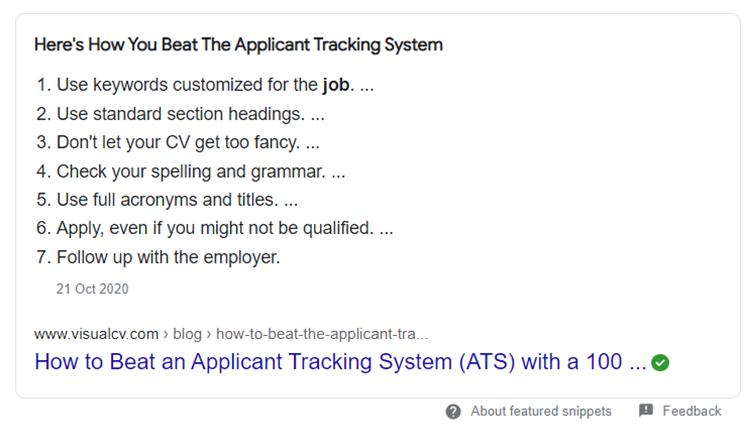 """A picture of the top search result on Google for """"how to beat job application algorithms"""". It has a list of techniques, such as using keywords."""