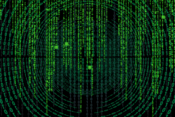 A picture of what looks like the code from the Matrix - green letters and numbers made of light against a black backdrop - futuristic looking.