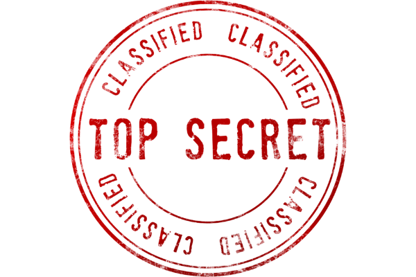"""A picture of a rubber stamp print that says """"top secret, classified"""""""