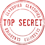 "A picture of a rubber stamp print that says ""top secret, classified"""