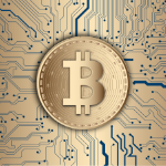 An image of the Bitcoin logo on a circuit board
