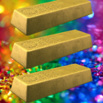 A picture of 3 gold bars against a sparkly rainbow background. I've used it to represent a dream lifestyle.