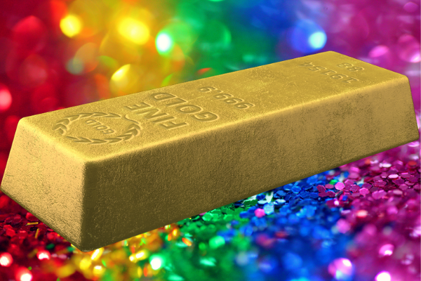 A gold bar against a sparkly rainbow background. I've used it to represent winning a dream lifestyle.