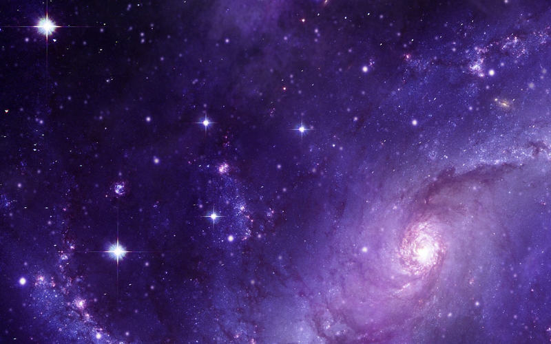 A picture of deep space in purple - it's a veritable display of light
