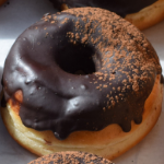 A picture of a chocolate doughnut