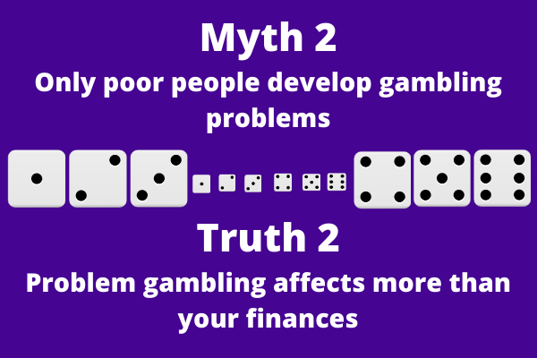 An infograph picture that says: Myth 2 Only poor people develop gambling problems Truth 2 Problem gambling affects more than your finances