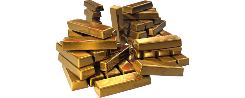 A picture of gold bullion bars piled up on each other