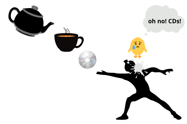"""Gambar teko, tipis di sudut kiri atas, yang dituangkan ke dalam cangkir teh tepat di bawahnya, yang memiliki CD tepat di bawahnya, yang memiliki seorang pria yang baru saja melemparkan CD, dan memiliki kotoran burung di bahunya dari seekor burung yang ada di pojok kanan atas dan terlihat ketakutan dan memiliki gelembung pikiran yang mengatakan """"oh tidak, CD!""""."""