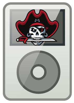 Gambar pemutar iPod MP3/4 gaya lama) dengan gambar tengkorak bertopi bajak laut.  Ini merupakan pembajakan hari-hari internet awal.