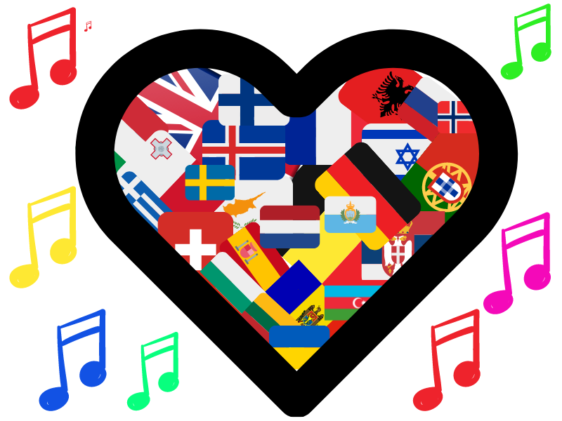 A cartoon outline of a heart with the flags of every country competing in the Eurovision Final. With musical notes around it in vivid colours.