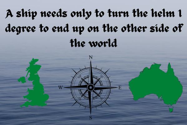 "Gambar dengan latar belakang laut dan gambar kartun Inggris Raya dan Australia, dengan kompas di antaranya menunjukkan Utara, Timur, Selatan, dan Barat.  Ada kutipan yang mengatakan, ""Sebuah kapal hanya perlu memutar kemudi 1 derajat untuk berakhir di sisi lain dunia."""