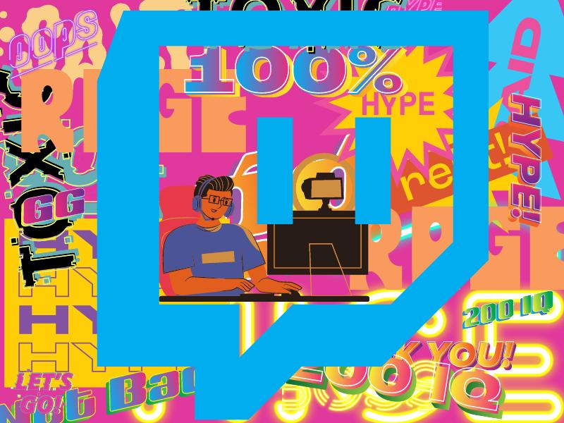 """Gambar yang sangat cerah dari sekumpulan kata kolase yang digunakan orang-orang di Twitch, misalnya """"promosi sensasional"""", """"beracun"""", """"200 IQ"""" dan """"lurus"""".  Ada Ikon Twitch di tengah yang di bagian depan dihamparkan di atas kata-kata, dan ada seorang pria kartun di komputernya di dalam ikon, yang juga dihamparkan di atas kata-kata.  Ada banyak warna, dua yang dominan adalah pink dan biru."""