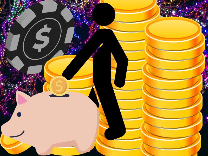 Sebuah pastiche dari elemen kartun yang berbeda, termasuk koin, celengan, pria tongkat, dan beberapa chip poker.  Ini untuk mewakili anggaran perjudian.